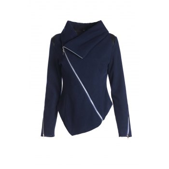 Stylish Long Sleeve Cowl Neck Zippered Women's Leather Trim Jacket - PURPLISH BLUE L
