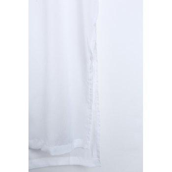 Sexy U Neck manches Backless See-Through Robe blanche de haute Slit femmes - Blanc S
