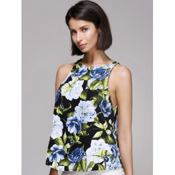 Stylish Round Neck Flower Print Tank Top For Women - COLORMIX L
