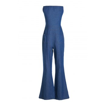 Casual Women's Strappy Denim Wide Leg Jumpsuit - DEEP BLUE M