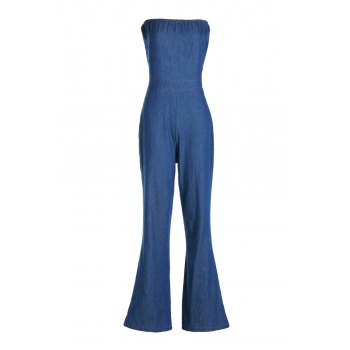 Casual Women's Strappy Denim Wide Leg Jumpsuit - DEEP BLUE DEEP BLUE