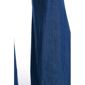 Casual Women's Strappy Denim Wide Leg Jumpsuit - XL XL