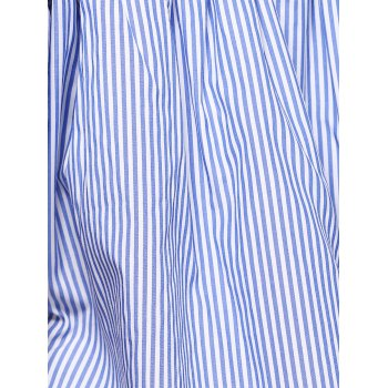 Stylish Pinstriped Off The Shoulder Blouse For Women - S S