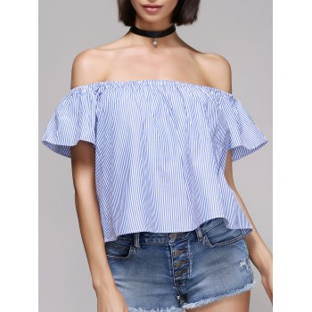 Stylish Pinstriped Off The Shoulder Blouse For Women - BLUE AND WHITE S