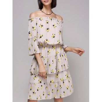 Stylish Print Off The Shoulder Flounce Dress For Women