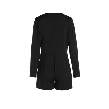 Trendy Long Sleeve Plunging Neck Solid Color Romper For Women - BLACK S