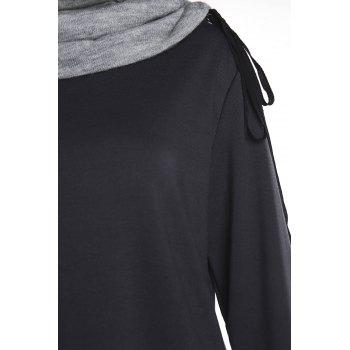 Chic Long Sleeve Turtle Neck Spliced Women's Sweatshirt - BLACK XL