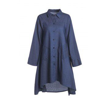 Stylish Shirt Collar Long Sleeve Denim Solid Color High-Low Hem Women's Dress