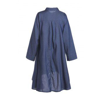 Stylish Shirt Collar Long Sleeve Denim Solid Color High-Low Hem Women's Dress - XL XL
