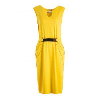 Noble Sleeveless V-Neck Ruched Faux Belt Embellished Women's Bodycon Dress