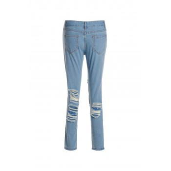 Attractive High Waist Broken Hole Design Solid Color Frayed Ankle Jeans For Women - L L