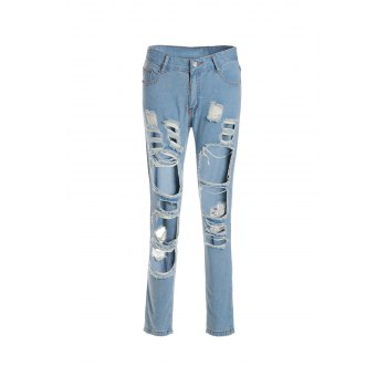 Attractive High Waist Broken Hole Design Solid Color Frayed Ankle Jeans For Women - BLUE L