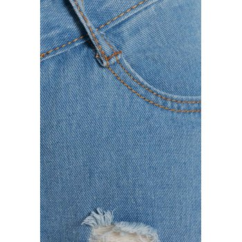 Attractive High Waist Broken Hole Design Solid Color Frayed Ankle Jeans For Women - XL XL