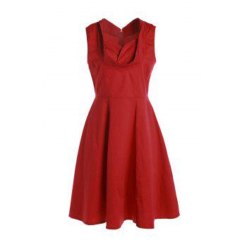 Vintage Sweetheart Neck Sleeveless Ball Gown Solid Color Women's Dress
