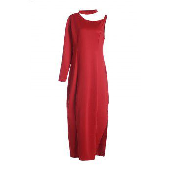 Sexy Round Neck Long Sleeve High Slit Plus Size Women's Dress
