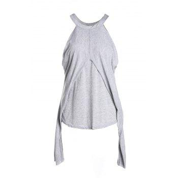Stylish Round Neck Long Sleeve Off-The-Shoulder Women's T-Shirt