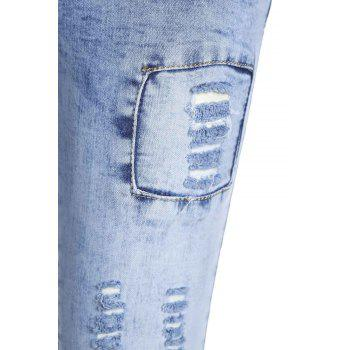 Stylish Low Waist Slimming Spliced Women's Ripped Jeans - XL XL