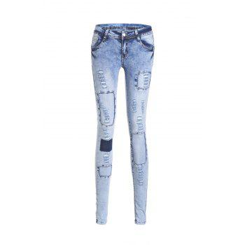Stylish Low Waist Slimming Spliced Women's Ripped Jeans - BLUE M