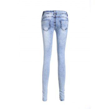 Stylish Low Waist Slimming Spliced Women's Ripped Jeans - M M