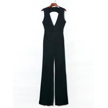 Women's Trendy Plunging Neck Backless Solid Color Jumpsuit