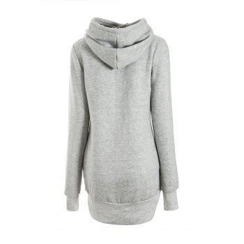 Women's Chic Solid Color Long Sleeve Hooded Hoodie - LIGHT GRAY S