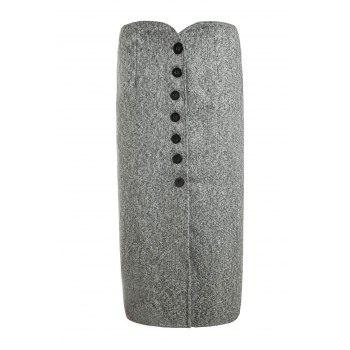 Women's Chic High Waist Single Breasted Pure Color Skirt - GRAY GRAY