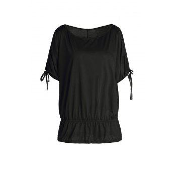 Trendy Scoop Collar Split Sleeve Solid Color Hollow Out Women's T-Shirt