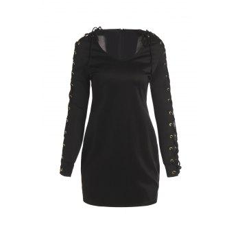 Chic V-Neck Long Sleeve Lace-Up Women's Bodycon Dress