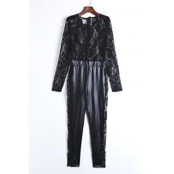 Sexy Women's Round Neck Lace Spliced PU Leather Long Sleeve Jumpsuit