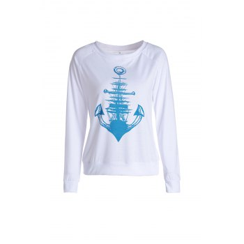 Stylish Long Sleeve Anchor Printed Raglan Baseball T-Shirt For Women