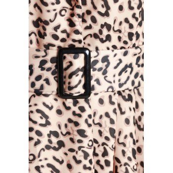 Stylish Long Sleeve Turn-Down Collar Leopard Print Belted Women's Coat - YELLOW S