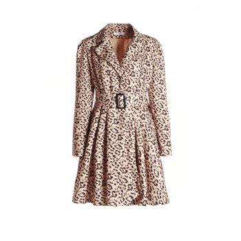 Stylish Long Sleeve Turn-Down Collar Leopard Print Belted Women's Coat