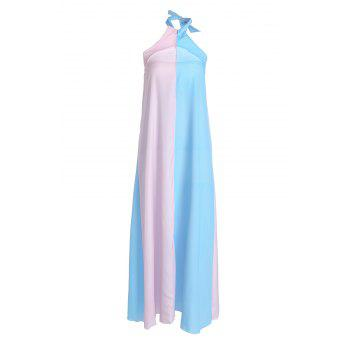 Stylish Halter Sleeveless Color Block Women's Maxi Dress