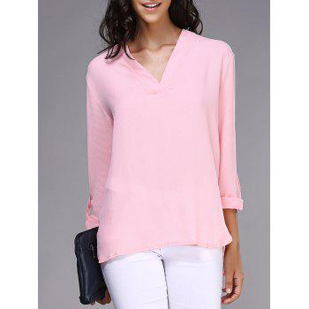 Stylish V-Neck Long Sleeve Loose Pink Chiffon Blouse For Women