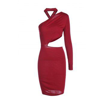 Women's One Shoulder Pure Color Cut Out Bodycon Dress