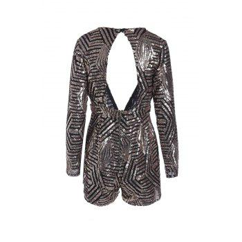 Sexy Plunging Neck Long Sleeve Sequined Backless Women's Romper