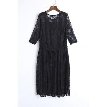 Elegant Solid Color Jewel Neck Half Sleeve Pleated Lace Dress For Women