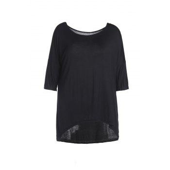 Sexy Skew Neck Solid Color 1/2 Sleeve Irregular T-Shirt For Women