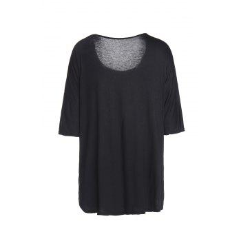Sexy Skew Neck Solid Color 1/2 Sleeve Irregular T-Shirt For Women - BLACK S
