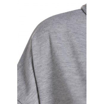 Stylish Women's Hooded Short Sleeve Asymmetrical Hoodie - GRAY L
