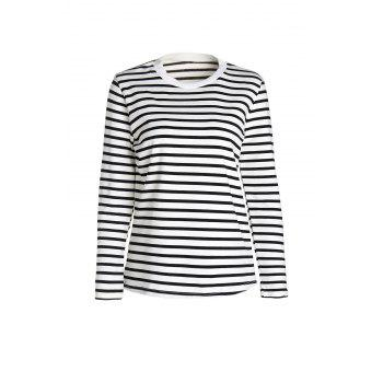 Simple Style Round Neck Long Sleeve Striped Women's T-Shirt