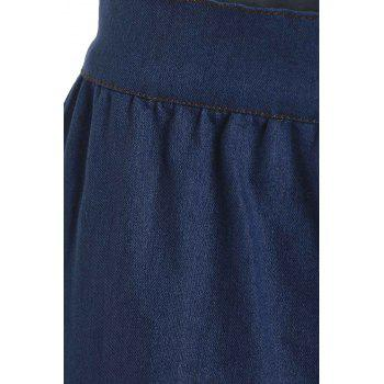 Stylish Women's High-Waisted Buttoned Denim Skirt - M M