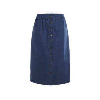 Stylish Women's High-Waisted Buttoned Denim Skirt - DEEP BLUE M