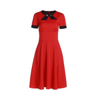 Vintage Short Sleeve Women's Round Neck Button Embellished Dress