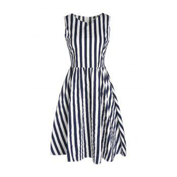 Retro Style Boat Neck Sleeveless Striped Ball Gown Women's Dress
