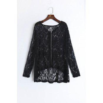 Sexy Women's Jewel Neck Long Sleeve See-Through Lace  Plus Size Blouse