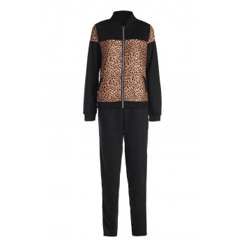 Stylish Long Sleeve Stand Collar Leopard Spliced Sweatshirt + Skinny Pants Women's Twinset