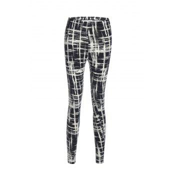Vintage Style Elastic Waist Jacquard Black and White Women's Skinny Pants