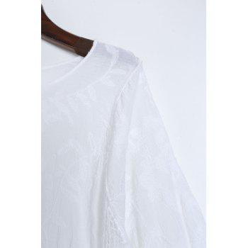 Chic Hollow Out Scoop Neck Batwing Sleeve Women's Cover Up - WHITE ONE SIZE(FIT SIZE XS TO M)