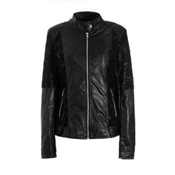Stand Up Collar Long Sleeve Lace Spliced PU Jacket